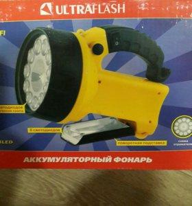 Новый аккумуляторый фонарь 220/12В
