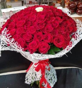 101 Роза. Живые цветы. Свадебный букет