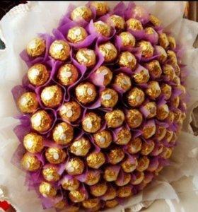 Букеты цветы ( розы, ромашки , тюльпаны ) конфеты