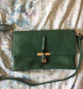 Зелёная новая сумка-клатч