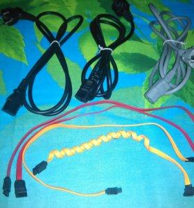 Сетевые и SATA шнуры на ПК