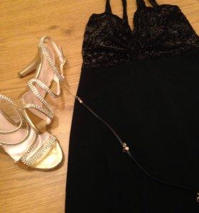 Чёрное короткое платьице р-р 40