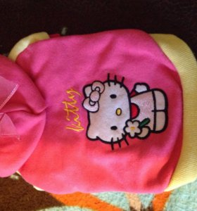 Толстовка Kitty розовая хлопковая с аппликацией