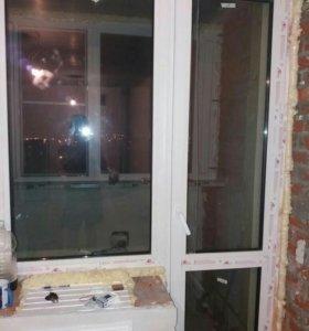 окно глухое и дверь на лоджию