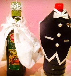 Свадебные костюмы -украшения на бутылки