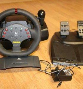 Игровой руль с педалями и коробкой передач