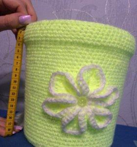 Вязаное ведро (ручная работа)
