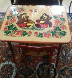 Детский стол и стул для игр и учебы