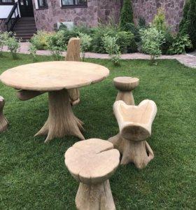 Садовая мебель из цельного дуба. Ручная работа.