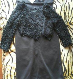 Платье вечернее чёрное в пол с накидкой