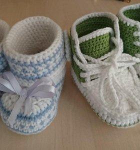 Вязаные носочки и пинетки