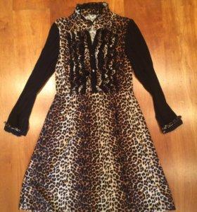 Новое леопардовое платье xs-s