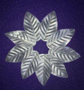 Серебряные листочки для флористики декор