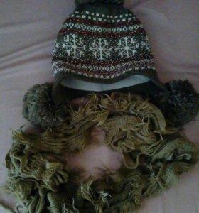 Женская шапка и шарф