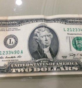 Продам 2 долларовую купюру