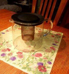 Обьемный стеклянный заварной чайник с ситечком