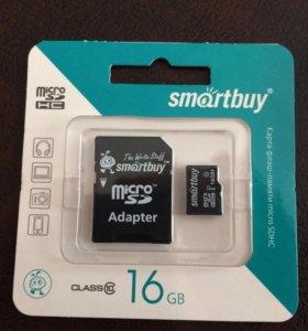Карта памяти micro SDHC на 16 GB