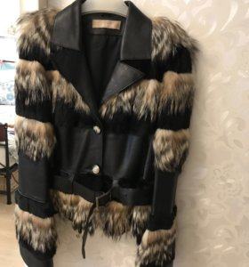 Куртка кожаная с мехом, енот и кролик