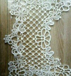 Белая Задней Сетки Кружевной Ткани Вышивка