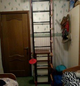 Шведская стенка металлическая с верёвочной лестниц