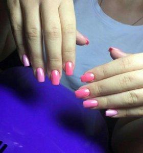 Акция Наращивание ногтей-однотонное пок. или френч