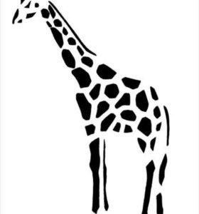 выжженная картина жирафов