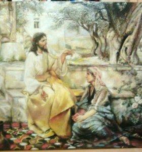 Картина маслом Иисус и самарянка