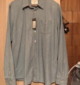 Мужская рубашка новая( джинсовая) XL