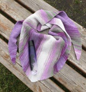 Бактус, вязаные аксессуары, вязаный платок