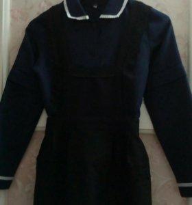 Форма школьная темно- синяя с черным фартуком
