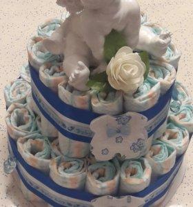 Торт из памперсов🎁🎁🎁