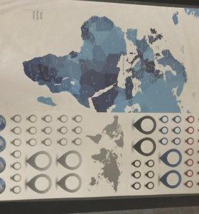 Наклейка Декоретто карта мира