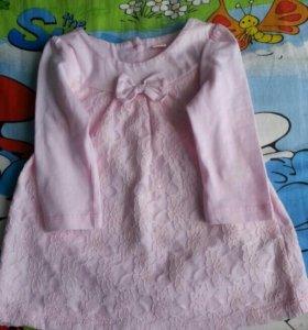 Платье,пинетки 3-6-9 месяцев