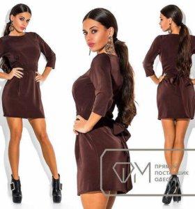 Платье коричневое с поясом