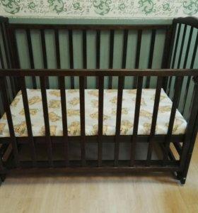 Детская кровать+матрас+наматрасник непромока!!!