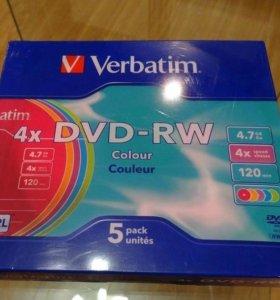 Диски DVD-RW verbatim 4.7Гб (5шт)