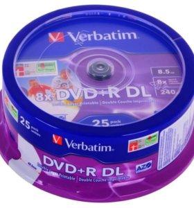 Диски Verbatim 8.5Gb 8x DVD+R DL 25шт