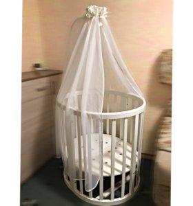 Овальная кроватка Ellipsebed 6в1 (белая)