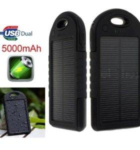 Внешний аккумулятор 5000 мАч с солнечной зарядкой
