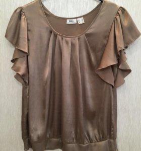 Атласная блузка шоколадного цвета