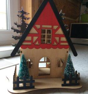 Новогодний домик с подсветкой