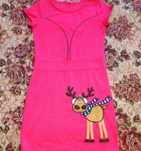 Розовое платье с оленем для девочки 11-12 лет