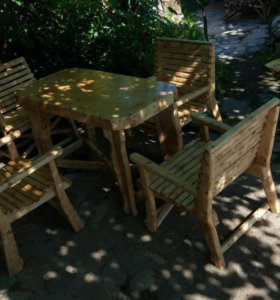 комплект стол + 4 стула (ручная работа)