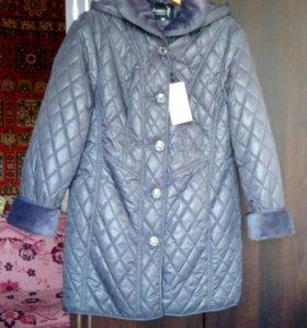 Куртка-полупальто серебристая от 52 до 56