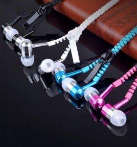 Наушники на молнии Zipper с микрофоном, все цвета