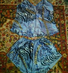Шелковый комплект для сна пижама майка+шорты новый