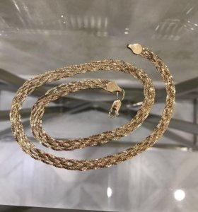 Золотая цепочка косичка 585 пробы