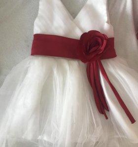 Нарядное платье 2 шт с меховой накидкой