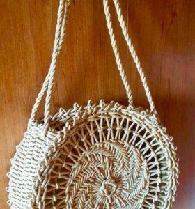Сумочка пляжная плетёная