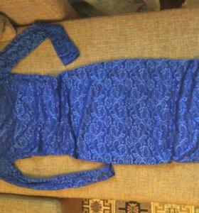 Платье гипюровое синего насыщенного цвета